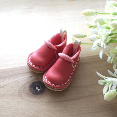 Real Leather:1/6 Blythe shoes/Coral pink color/ by Amabiledoll