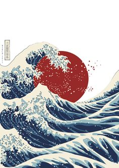 "The Great Wave Off Fukushima From: Kadir Asani Inspired by ""The Great Wave Off Kanagawa"" from the Japanese Artist Hokusai.Title: The Great Wave Off Fukushima From: Kadir Asani Inspired by ""The Great Wave Off Kanagawa"" from the Japanese Artist Hokusai. Japanese Artwork, Japanese Painting, Japanese Prints, Waves Wallpaper, Japanese Waves, Japanese Style, Japon Illustration, Japanese Illustration, Retro Illustration"