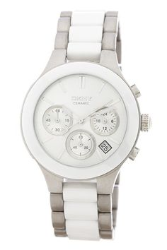 DKNY white ceramic watch