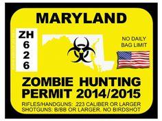 Maryland Zombie Hunting Permit