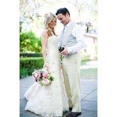 Sweep Train Sweet Wedding Dress Aline Strapless Ivory Sleeveless Lace Zipper Up Hand-made Flowers Garden Spring Dress - OACHY The Boutique #garden, #oachy, #ivory, #boutique, #hand
