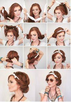 Penteado no estilo grego com lenço. Lindo! #tutorial #penteado #lenço
