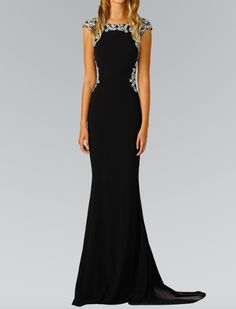 - Scoop Neck - Black Evening Gown - Hand Beaded Back and Neckline - Cap Sleeves - Crystal Embellishment Evening Dresses With Sleeves, Mob Dresses, Event Dresses, Evening Gowns, Black Tie Wedding Guests, Sparkly Outfits, Military Ball Dresses, Beautiful Maxi Dresses, Beaded Gown