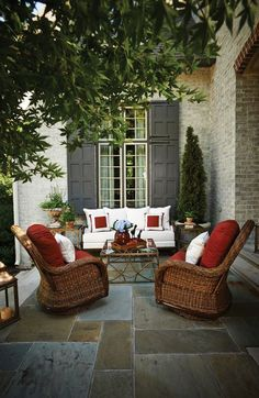 add color to your outdoor living space with accent accent / throw pillows #red #outdoor
