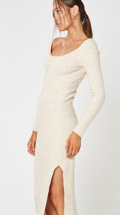 When it's time to layer up, this cosy piece adds the perfect touch of comfort The Perfect Touch, Sweater Weather, Knit Dress, Wool Blend, Thighs, Cold Shoulder Dress, Slim, Boutique, Knitting