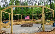 DIY Firepit Pergola for Swings (Instructions + Diagrams) – Remodelaholic Diy Backyard Fence, Backyard Greenhouse, Diy Fence, Backyard Farming, Fire Pit Backyard, Backyard Projects, Outdoor Projects, Garden Projects, Diy Projects