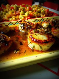 Seared Tequila Scallops in a Cilantro Chile Sauce =-= from Hispanic Kitchen, Mmm, Mmm Mouth~Watering !!