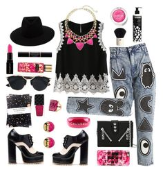 """#statementnecklace #accessories #pink #black #jeans #hat #summer2016 #summerlook #gold #heels #OOTD #Collage #Art #Polyvore""""Statement Necklaces Contest Entry"""" by rose-dujour on Polyvore featuring Mini Cream, Kenzo, Christian Dior, rag & bone, Kendra Scott, Chanel, Trina Turk, Casetify, Smashbox and Clinique"""