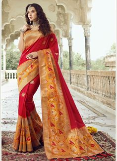 Cherry Red silk saree with turmeric yellow banglori silk blouse. Embellished with woven and zari embroidery. Saree with Sweetheart Neckline, Short Sleeve. It comes with unstitch blouse, it can be stitched to 32 to 58 sizes. Orange Color Shades, Cherry Red Color, Green Silk, Pink Silk, Saree Collection, Designer Collection, Indian Sarees, Silk Sarees, Engagement Saree