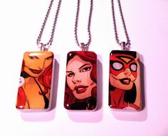 Female Avengers  Domino Necklaces by TilTheLastPetalFalls on Etsy, $5.00 #marvel #comics #jewelry #recycled #dominos #blackwidow #tigra #spiderwoman