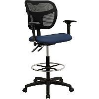 Flash Furniture - Navy Blue Fabric and Mesh Drafting Stool w/ Arms - Sam's Club