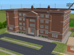 Simlish Noir - simlishnoir: simlishnoir: A High School inspired. The Sims 2, Sims Four, Sims 4, Minecraft City, Minecraft Houses, Minecraft Ideas, Simcity 4, International High School, Sims 2 House
