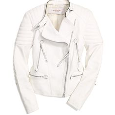BAILEY MOTO JACKET ($1,598) ❤ liked on Polyvore featuring outerwear, jackets, tops, coats, leather moto jacket, genuine leather jackets, biker jackets, quilted biker jacket and white quilted jacket