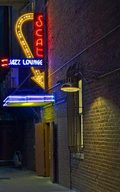 Scat Jazz Lounge by Matthew Miller Neon Katt, Speakeasy Decor, Jazz Lounge, Jazz Bar, The Blues Brothers, Live Jazz, Neon Nights, Jazz Club, Editing Background