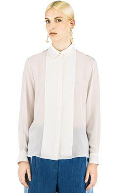 Koonhor Silk Crepe de Chine Pleat-front Shirt in White