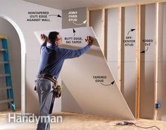 Hang drywall vertically to avoid butt joints - first board will need to be cut to ensure each following board ends on the center of a stud. If a stud is missed just add another 2x4 to expand the space for fasteners