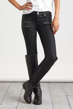 Knee-highs are a statement best worn with a sleek pair of skinnies. Their tapered leg is easier to tuck into a boot, plus they're ultra-flattering. If skinny jeans aren't your thing, a quick solution is to cuff & roll straight-leg or bootcut denim into a high sock, then slip on your boot.