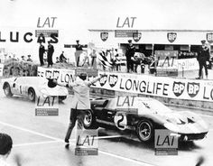 June of victory for Fords, the 7 litre Ford of Bruce McLaren and Chris Amon, crosses the finish line to lead a Ford result.World Copyright: LAT Photographic Ford Le Mans, Le Mans France, 24 Hours Le Mans, Bruce Mclaren, Ford Gt40, Man Photo, Victorious, Race Cars, Automobile