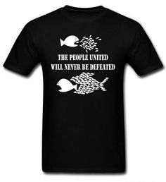 """""""The People United Will Never Be Defeated"""" Protest / Activist Fish T-Shirt ( #Anarchism #Revolution )"""
