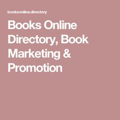 Books Online Directory, Book Marketing & Promotion