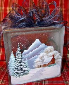 winter cabin scene on a glass block - Glass Block Christmas Decorations
