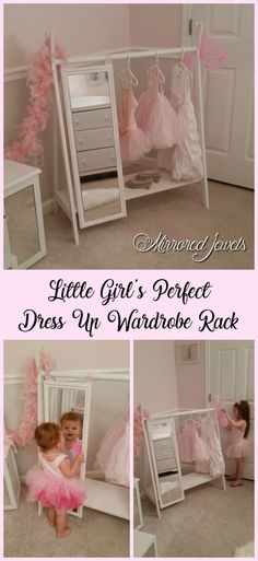Kids dress up wardrobe rack perfect for your little girl's precious princess collection! Kids play clothes clothing rack with full length mirror. Excellent Christmas gift for little girls!
