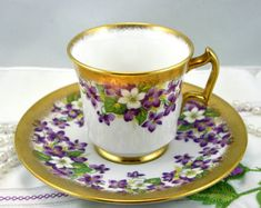 Lovely,Royal Chelsea Teacup & Saucer, Delicate Violet Design, Nicely Gilded, Bone English China made in 1960s.