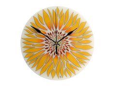 Sunflower Wall Clock, Yellow Flower Wall Decor, Original Painting Glass Clock, Summer Home Decor Contemporary Clocks, Modern Clock, Modern Office Decor, Office Wall Decor, Dog Lover Gifts, Dog Gifts, Clock Painting, Clock For Kids, Thing 1