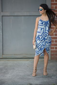 The Claire Print Dress- Blue/Ivory palm leaf print with front overlay. Summer ready!  www.oliviajameapparel.com