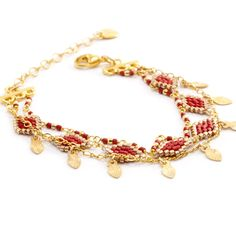Chan Luu - Dark Maroon Three Strand Chain Bracelet, $180.00 (http://www.chanluu.com/bracelets/dark-maroon-three-strand-chain-bracelet/)