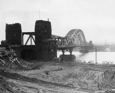 // rdm actual view and location//The Ludendorff Bridge at Remagen before its collapse in March 1945