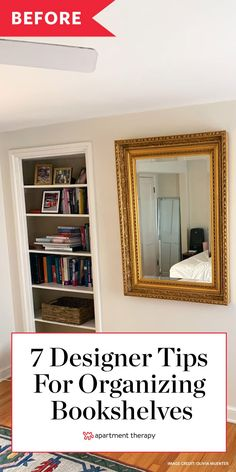 I needed to make my bookshelves more functional, prettier, and easier to manage. (And do it all on a budget!) Here's what six experts suggested. Apartment Design, Apartment Therapy, Living Room Built Ins, Bookshelf Organization, Moore House, Library Design, Staying Organized, Home Hacks, Bookshelves