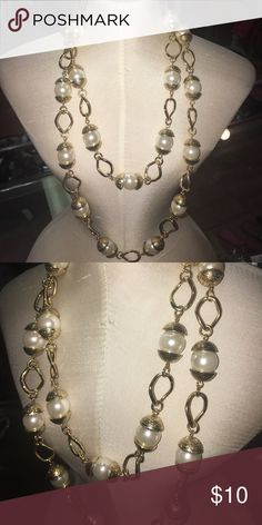 Gold pearl necklace Long necklace, can be layered Jewelry Necklaces