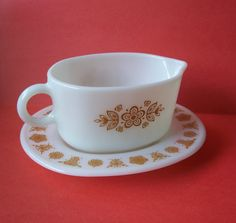 Vintage Butterfly Gold Gravy Boat and Saucer by MargsMostlyVintage, $14.00