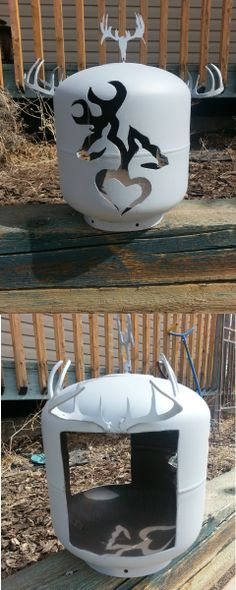 This is a propane tank bird feeder. I cut this out of an empty 20 lbs propane tank for a very good friend of mine. I used my plasma cutter to cut it out.  Both of them are avid hunters/outdoors enthusiasts and fans of Browning products.  The tank has a couple coats of primer on it and they can paint it any colour they want.