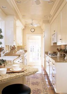 Galley kitchen with peninsula for dishwasher