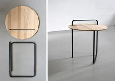 I had a similar idea around concrete table top and copper legs. Made of oak and bent steel tubing, Clip is a simple, portable and foldable table. Inspired by a paper clip, the base and top come apart and the top can be used separately as a tray. Wood Furniture, Modern Furniture, Furniture Design, Simple Furniture, Foldable Table, Deco Design, Furniture Inspiration, Chair Design, Design Table