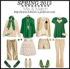 """""""SPRING 2013: Mix & Match: Emerald Green and Neutral"""" by k-hearts-a on Polyvore"""
