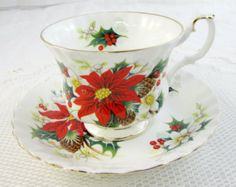 Christmas Tea Cup Queen Anne Noel Tea Cup and Saucer by TheAcreage
