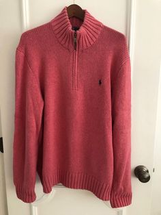 ffffb3a1c Men s Ralph Lauren Zip Mock Neck Cotton Pink Sweater Size XL  fashion   clothing