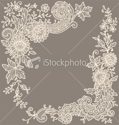 Сream-colored lace Corner Royalty Free Stock Vector Art Illustration