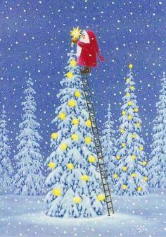 Eva Melhuish, Santa Putting Star on Tree Swedish Christmas, Noel Christmas, Vintage Christmas Cards, Christmas Pictures, Winter Christmas, All Things Christmas, Illustration Noel, Christmas Illustration, Illustrations