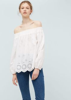Embroidered cotton blouse - Women | MANGO USA