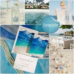 azul, playa, Invitaciones de boda junto al mar y las ideas de Tema de la boda