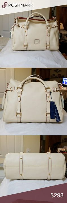 "NWT Dooney & Bourke Florentine Satchel **Bone** Dooney and Bourke Florentine Leather Satchel in the color Bone. This is a new satchel, never carried and still stuffed with packaging material.   Comes with long strap and dustbag.  Measurements H 9.5"" x W 6.5"" x L 15"" Dooney & Bourke Bags Satchels"