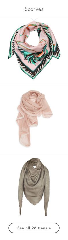 """""""Scarves"""" by anaiara ❤ liked on Polyvore featuring accessories, scarves, emilio pucci, pink, pink shawl, silk twill scarves, pink scarves, emilio pucci scarves, la fiorentina and verone"""
