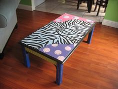 Funky Furniture Factory...would be fun to paint a coffee table really crazy like this.