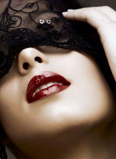 Beautiful Woman With Red Lips And Lace Mask Over Her Eyes. Royalty Free Stock Photo, Pictures, Images And Stock Photography. Burgundy Lipstick, Lace Mask, Makeup Trends, Red Lips, Henna, Halloween Face Makeup, Beautiful Women, Nail Art, Masks