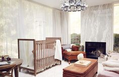 """Jaime King blew us away with her insanely sophisticated nursery space, but then again, we wouldn't expect anything less from the stylish model—did you see her stunning closet makeover? The chic mom of two, along with her husband, Kyle Newman, teamed up with parenting retailer Cricket's Circle and RH Baby & Child to turn the space into a nursery/office and family hangout. """"I didn't want a space overrun by kids—I wanted to maintain my identity and sense of calmness, which for us is a clean…"""