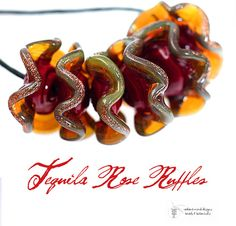 Designer Lampwork Bead Set  Tequila Rose Ruffles by LampworkBeads